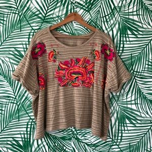 Free People Floral Embroidered Oversized Top Sz M